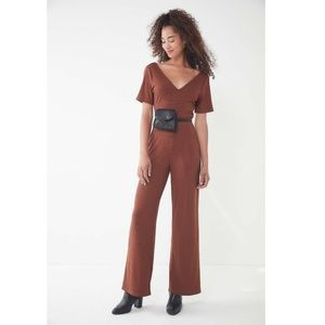 Urban Outfitters Brown Ribbed Knit V-neck Jumpsuit